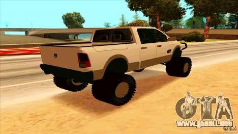 Dodge Ram 2500 4x4 para GTA San Andreas vista posterior izquierda