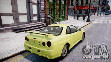 Nissan Skyline R-34 V-spec para GTA 4 ruedas