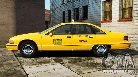 Chevrolet Caprice 1991 LCC Taxi para GTA 4 left