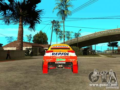 Mitsubishi Racing Lancer from DIRT 2 para GTA San Andreas vista posterior izquierda