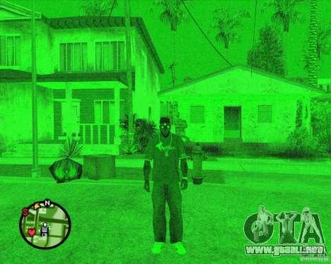 Dispositivo de visión nocturna Splinter Cell gaf para GTA San Andreas segunda pantalla
