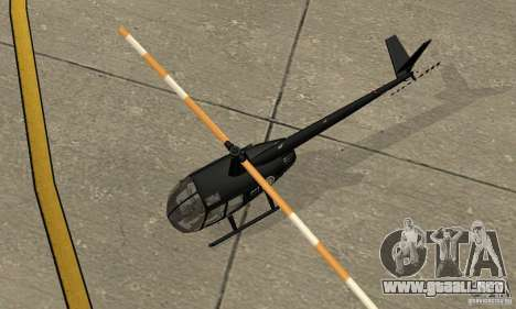 Robinson R44 Raven II NC 1.0 negro para GTA San Andreas vista hacia atrás