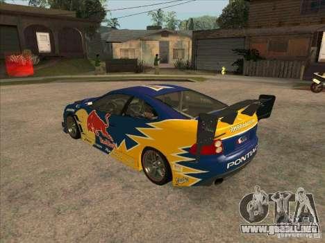 Pontiac GTO Red Bull para GTA San Andreas vista posterior izquierda