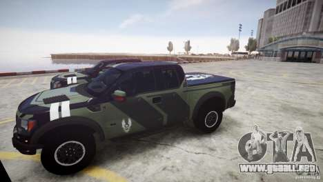 Ford F150 SVT Raptor 2011 UNSC para GTA 4 vista hacia atrás