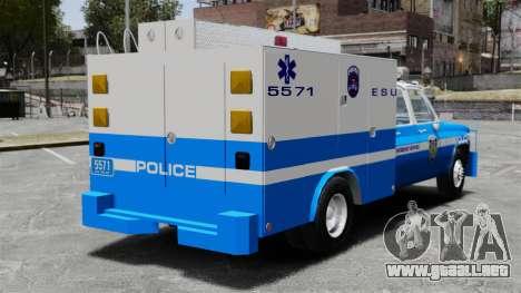 GMC C3500 NYPD ESU para GTA 4 Vista posterior izquierda