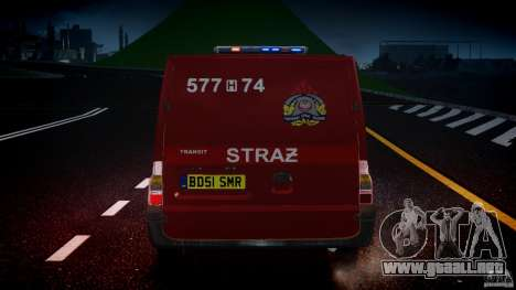 Ford Transit Polish Firetruck [ELS] para GTA 4 vista desde abajo