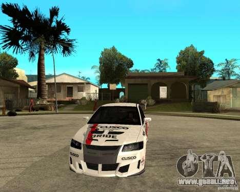 Lancer Evolution VIII, los estadounidenses inter para GTA San Andreas vista hacia atrás