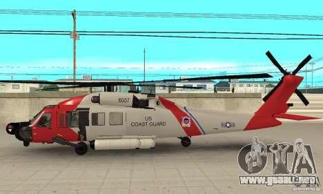 HH-60 Jayhawk USCG para GTA San Andreas vista posterior izquierda