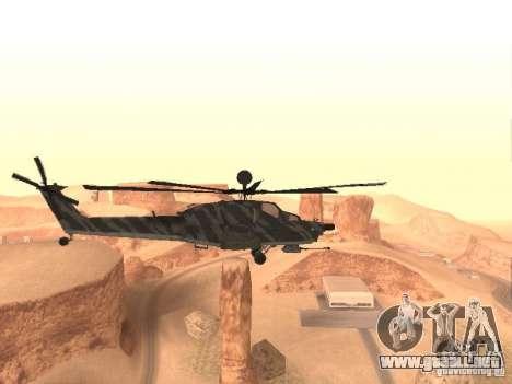 MI 28 Havok para GTA San Andreas vista posterior izquierda