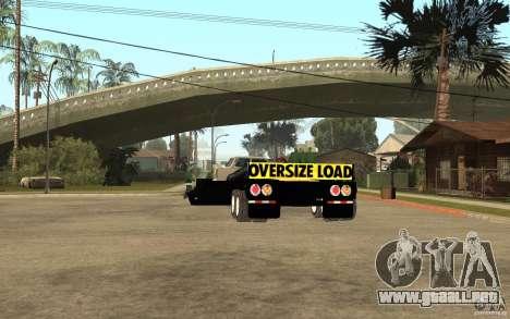 Trailer lowboy transport para GTA San Andreas vista posterior izquierda