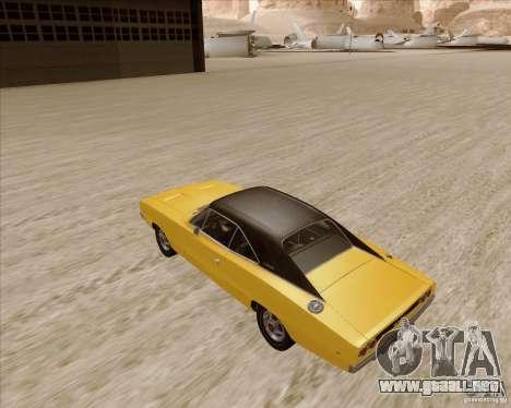 Dodge Charger RT 1968 Bullit clone para GTA San Andreas vista posterior izquierda