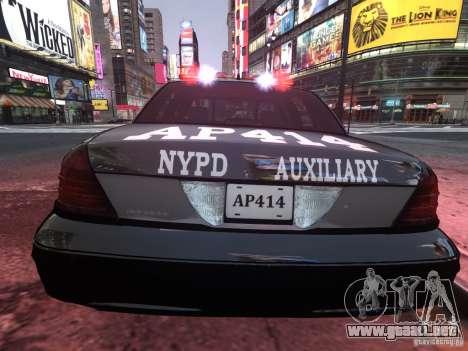 Ford Crown Victoria NYPD Auxiliary para GTA 4 visión correcta
