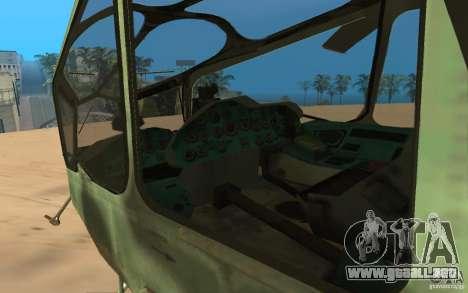 MI-24A para GTA San Andreas vista hacia atrás