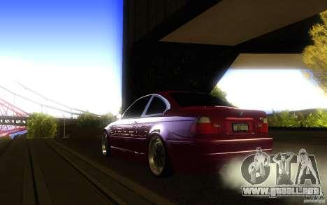 BMW M3 E46 V.I.P para GTA San Andreas vista hacia atrás