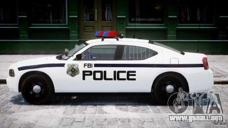 Dodge Charger FBI Police para GTA 4 Vista posterior izquierda