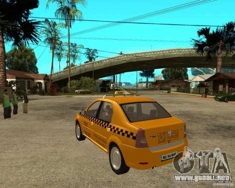 Dacia Logan Taxi Bucegi para GTA San Andreas vista posterior izquierda