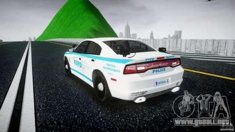 Dodge Charger NYPD 2012 [ELS] para GTA 4 Vista posterior izquierda