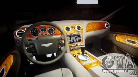 Bentley Continental GT v2.0 para GTA 4 vista hacia atrás