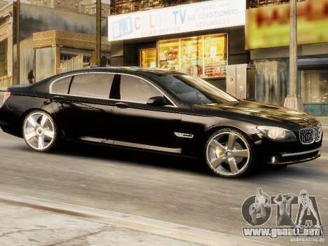 BMW 750 LI 2010 para GTA 4 Vista posterior izquierda