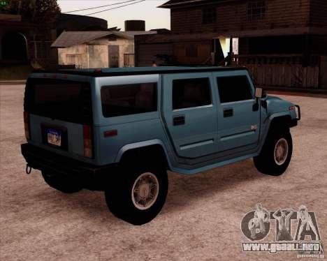 Hummer H2 SUV para GTA San Andreas vista posterior izquierda