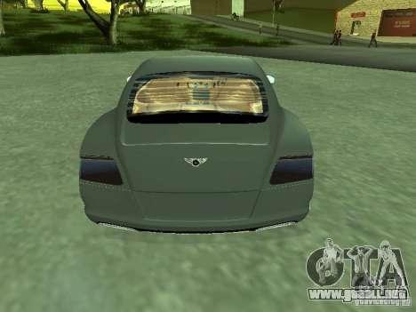 Bentley Continental GT 2010 V1.0 para GTA San Andreas vista posterior izquierda
