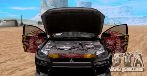 Mitsubishi Lancer Evolution RYO Vatanabe para GTA San Andreas vista posterior izquierda