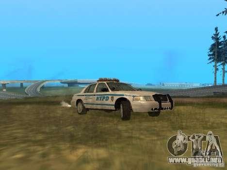 Ford Crown Victoria NYPD Police para GTA San Andreas vista posterior izquierda