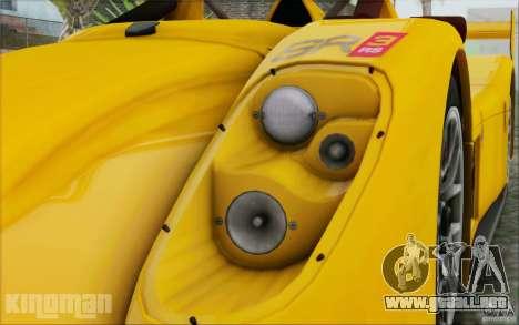 Radical SR3 RS 2009 para la visión correcta GTA San Andreas