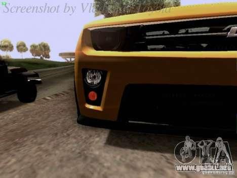 Chevrolet Camaro ZL1 2012 para la vista superior GTA San Andreas