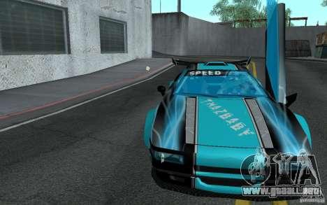 Baby blue Infernus para GTA San Andreas vista hacia atrás