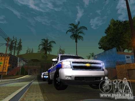 Chevrolet Silverado Rockland Police Department para GTA San Andreas vista hacia atrás