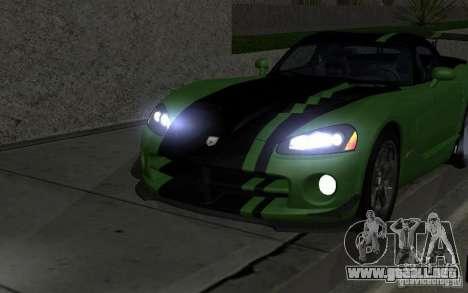 Dodge Viper un poco tuning para GTA San Andreas vista hacia atrás