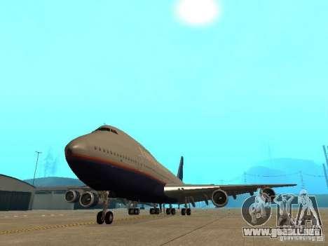 Boeing 747-100 United Airlines para GTA San Andreas vista hacia atrás
