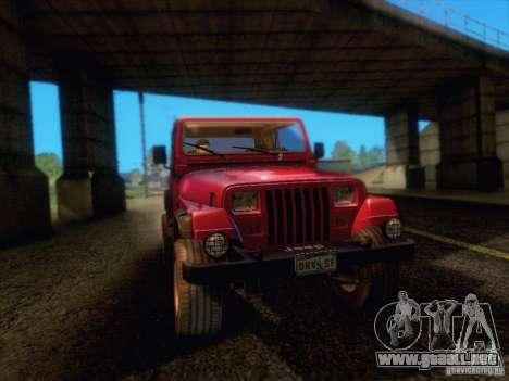 Jeep Wrangler 1994 para GTA San Andreas vista hacia atrás