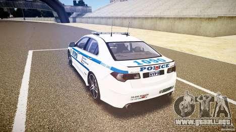 Honda Accord Type R NYPD (City Patrol 1090) ELS para GTA 4 Vista posterior izquierda