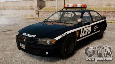 Nueva patrulla de la policía para GTA 4 vista hacia atrás