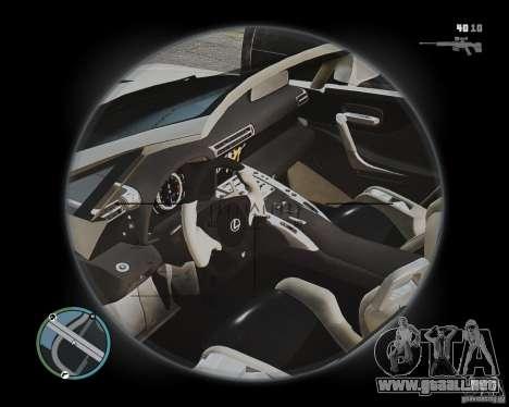 Lexus LF-A Roadster para GTA 4 vista interior