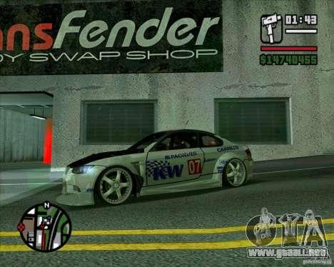 Bmw M3 2008 E92 para GTA San Andreas left