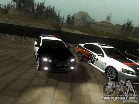 Pontiac G8 Police para GTA San Andreas vista hacia atrás