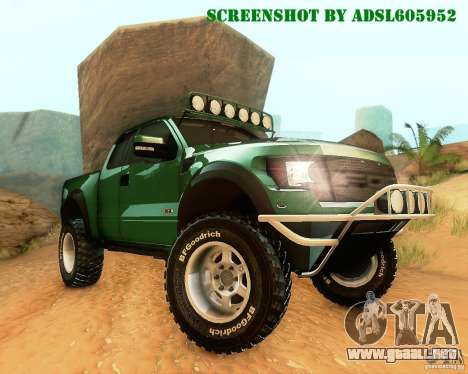 Ford F150 2011 SVT RapTor para vista lateral GTA San Andreas