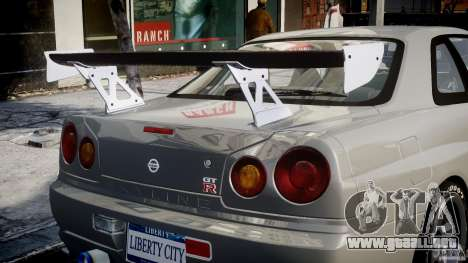 Nissan Skyline R34 Nismo para GTA 4 ruedas
