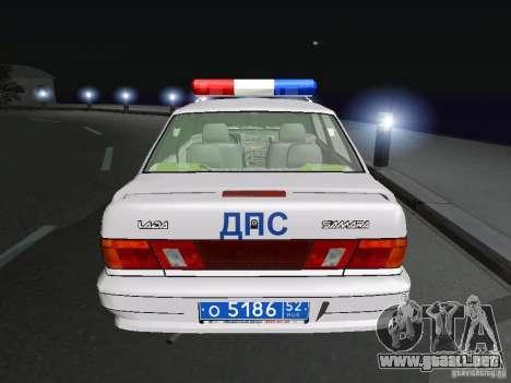 VAZ 2115 policía DPS para GTA San Andreas vista posterior izquierda