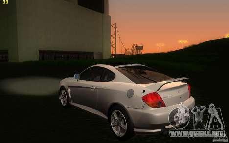 Hyundai Tiburon V6 Coupe 2003 para GTA San Andreas vista posterior izquierda
