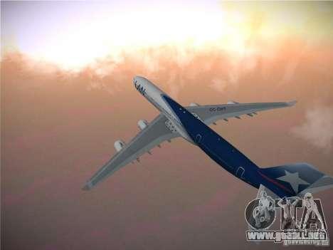 Airbus A340-600 LAN Airlines para GTA San Andreas vista hacia atrás