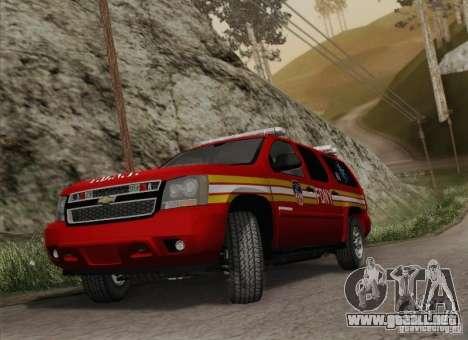 Chevrolet Suburban EMS Supervisor 862 para GTA San Andreas vista hacia atrás
