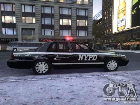 Ford Crown Victoria NYPD Auxiliary para GTA 4 Vista posterior izquierda
