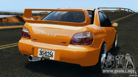 Subaru Impreza WRX STI 2005 para GTA 4 Vista posterior izquierda