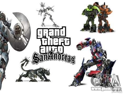 Imágenes de arranque en el estilo de transformad para GTA San Andreas