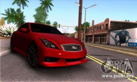 Infiniti IPL G Coupe 2012 para GTA San Andreas vista hacia atrás