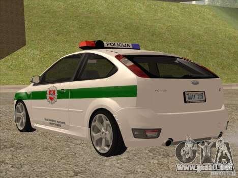 Ford Focus ST Policija para GTA San Andreas vista posterior izquierda